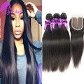 10a cabelo peruano em linha reta com o fechamento não transformados cabelo 4 pacotes cabelo virgem peruano com fechamento em linha reta com lace closure