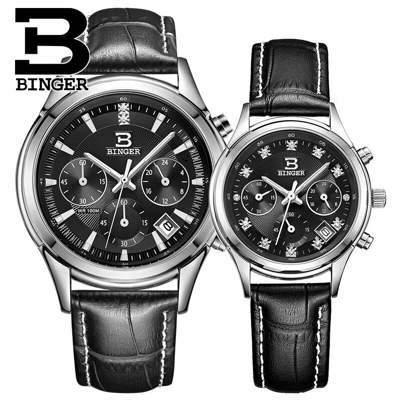 Schweiz Binger quarz frauen & männer uhren mode Lovers luxus marke Chronograph wasserdichte Armbanduhren BG6019 L-in Partneruhren aus Uhren bei  Gruppe 3