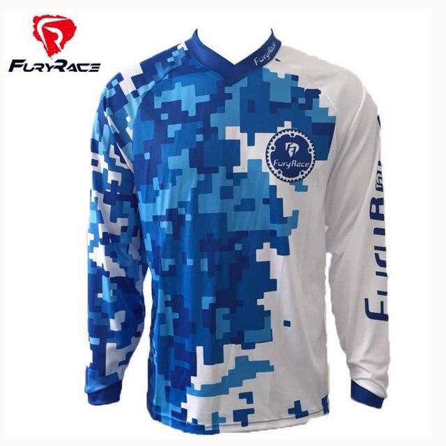53cb9aa17ee FURY RACE 2017 Men's Blue Camouflage Downhill Jerseys Mountain Bike MTB BMX  T Shirts Motorcycle DH BMX Offroad Cycling Clothing