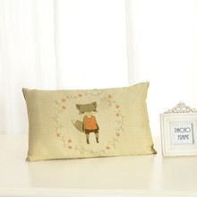 Personalized Cartoon Animals Cushion Covers Fashion Creativity Home decoration 30x50 Decorative Beige Linen Pillow Case