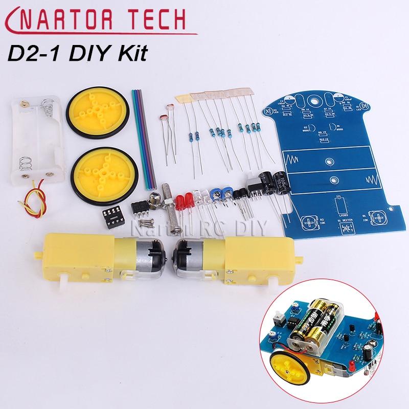 D2-1 DIY Kit Intelligent Tracking Line Smart Car Kit Smart Patrol Automobile Parts Scientific Production Science Study