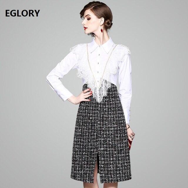 6448397b4f One Piece Dress Women High Quality Lace Bead Ruffles Deco Plaid Print  Patchwork Jewlery Button Shirt Dress Split Office Dresses