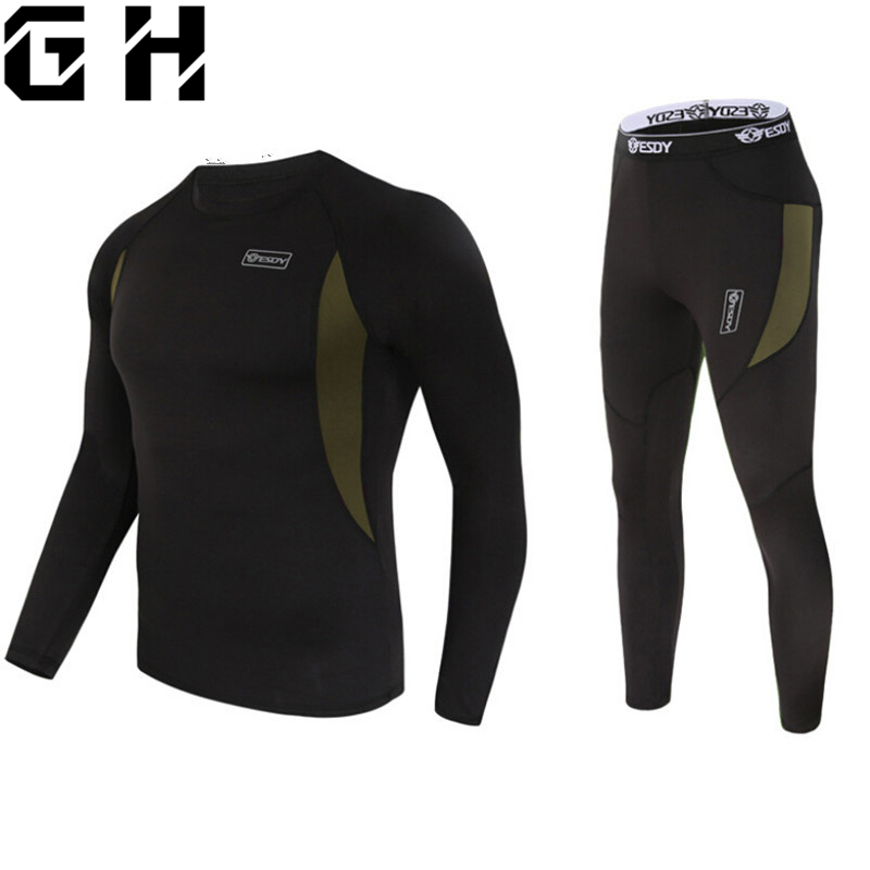 Top quality new thermal underwear men underwear sets compression fleece sweat quick drying thermo underwear men clothing(China)