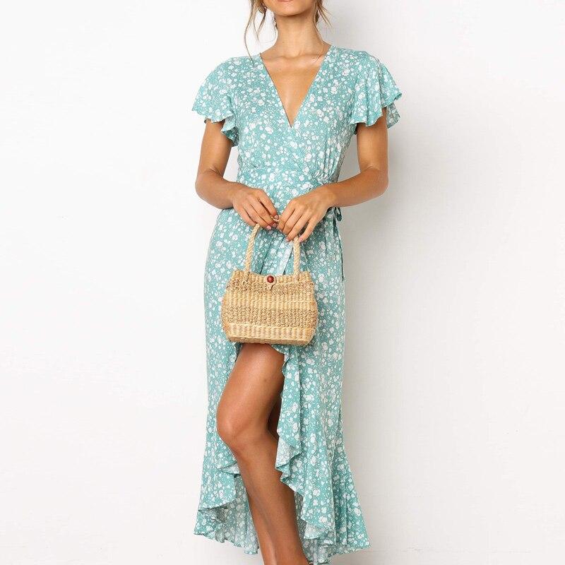 HiloRill Summer Long Maxi Dress Women Casual Boho Floral Print Beach Dress Sexy V-Neck Ruffle Bodycon Wrap High Slit Party Dress 5