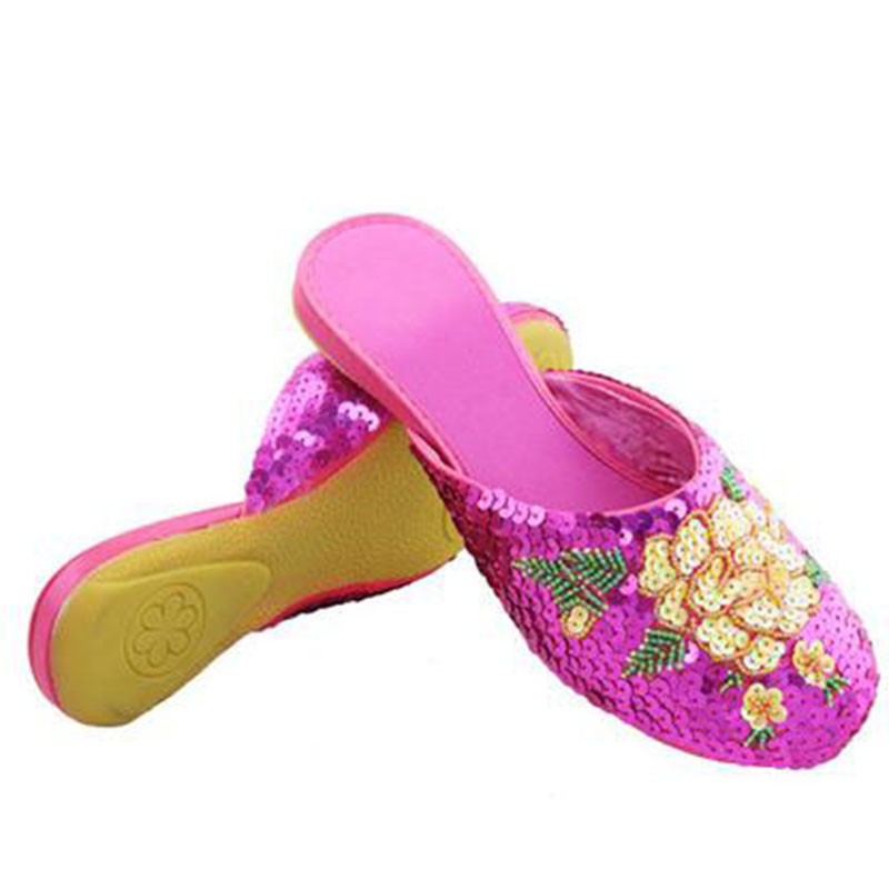 Beautiful spring and summer female drag handmade embroidered slippers cotton-made beijing shoes paillette flat bottom single beautiful darkness