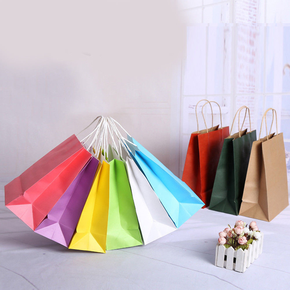 10 Colors Kraft Paper Reusable Shopping Bags Candy Color Carrier Bag Eco Friendly Tote Bags Wedding Treat With Handle For Gifts