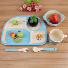 1 Set Baby Feeding Bamboo Fiber Cartoon Tableware Dishes Food Container Bowl Cup Plates Sets for Infant Baby Kids Plate baby dishes bowl cup plates sets bamboo fiber children fractional dinnerware set kids tableware fork feeding set food container