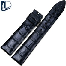 Pesno Beautiful Bamboo Grain Alligator Leather Watch Band 18mm Black Genuine Leather Watch Strap for Jeger-LeCoultre Longines
