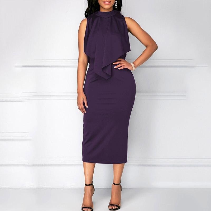 Women Sexy Bodycon Office Dress Summer African Plus Size Black Party Sleeveless Ruffle Blue Elegant Ladies Fashion Midi Dresses