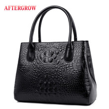 Luxury Alligator Women Handbag Classic Crocodile Pattern Genuine Leather Crossbody Bag Female Large Casual Totes Top-handle Bag resin chains crocodile pattern handbag adjustable strap totes acrylic ring handle accessories alligator crossbody shoulder bag