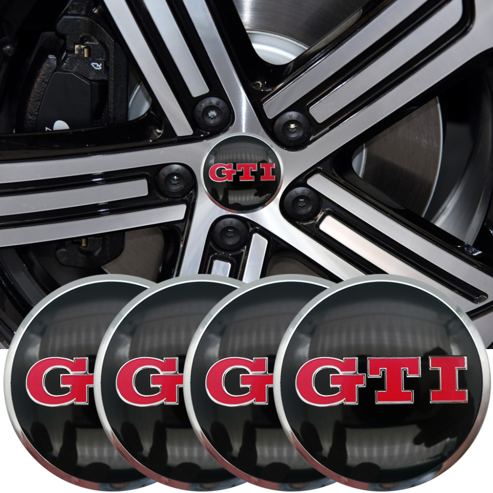 4PCS GTI car tires steering wheel center hub cap badge decals badge sticker for Volkswagen VW Polo Golf 4 Golf 5 Golf 6 Car waterproof rubber hk right hand steering wheel car floor mats for volkswagengolf 5 6 scirocco with gti tsi r r golf logo