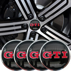 4PCS GTI car tires steering wheel center hub cap badge decals badge sticker for Volkswagen VW Polo Golf 4 Golf 5 Golf 6 Car