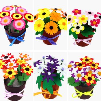 Zabawki dla dzieci rzemiosło dla dzieci kwiaty do składania doniczka roślina doniczkowa przedszkole nauka zabawki edukacyjne pomoce dydaktyczne montessori Toy tanie i dobre opinie CN (pochodzenie) Z4790 Chiny certyfikat (3C) Keep away from fire Cloth