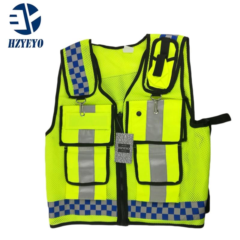 Prix pour Moto Haute visibilité gilet de sécurité Réfléchissant Treillis écran tissu Sécurité vêtements tirette réfléchissante travail gilet HZYEYO D9902