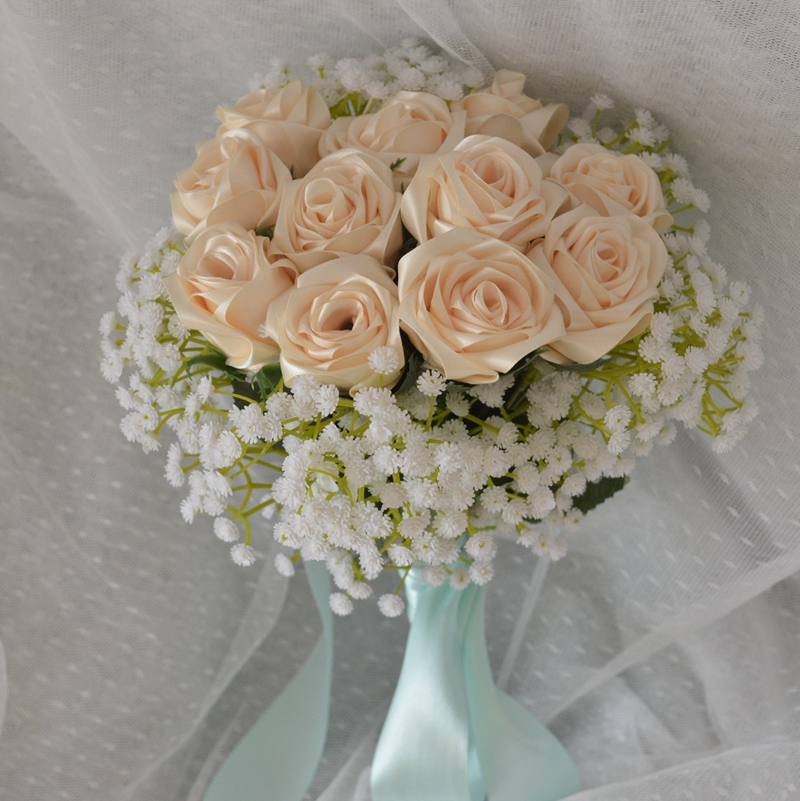 Hecho a mano de satén de seda Flores de Rose Boda Novia Bouquet Artificial Bruidsboeket Wedding Bouquet real rose