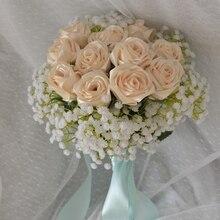 Hand made silk satin Rose Flowers Wedding Bride Bouquet Artificial Bruidsboeket real rose