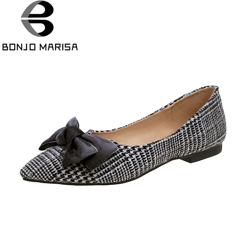 BONJOMARISA 2018 wholesale dropshipping concise bow pointed toe flats shoes women fashion spring summer shoes footwear pu pointed toe flats with eyelet strap