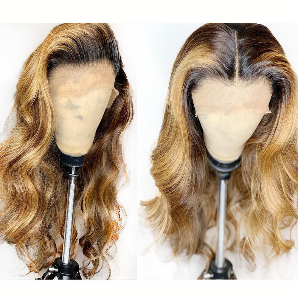 Ombre 1b 27 Honey Blonde Deep Part 13x6 Body Wave Lace Front Human Hair Wig Preplucked