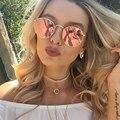 Rose Oro Ronda gafas de Sol de Las Mujeres de Moda Diseñador de la Marca Gafas de Sol Retro Marco de Metal Espejo de La Vendimia Hembra Rayos UV400