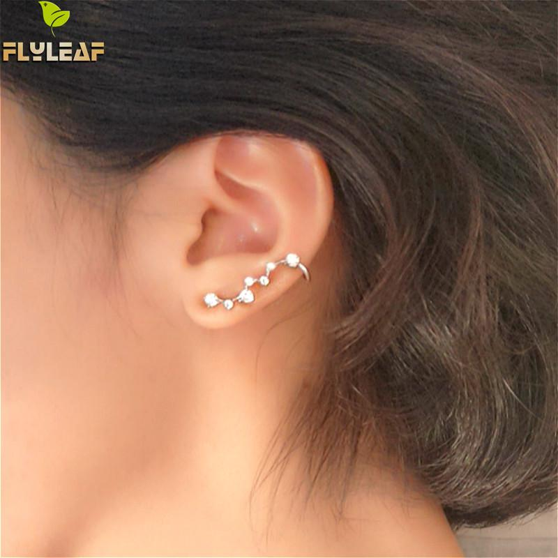 Flyleaf 100% 925 Sterling Silver Cubic Zirconia Big Dipper Stud Earrings For Women Romantic Lady Fashion Jewelry