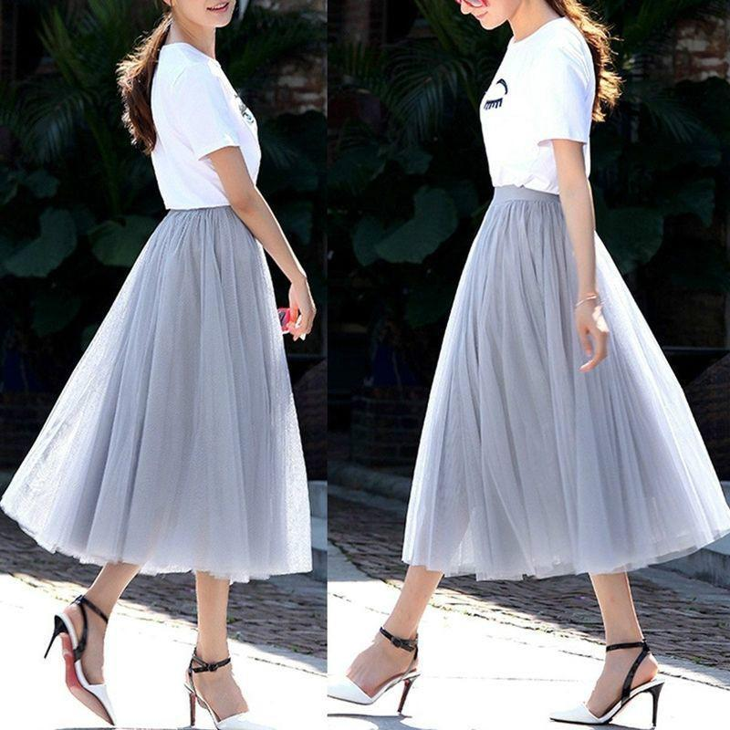 Summer Ball Gown Skirts Women Multi Layer Tulle Pleated Retro Long Maxi Tutu Skirts High Waist Skirt 6 Colors