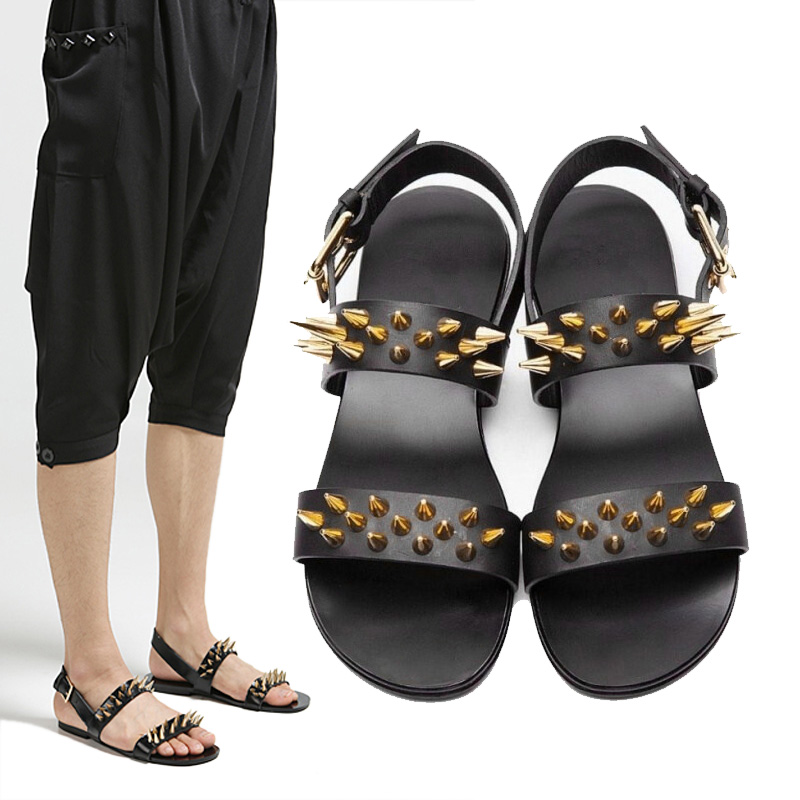 New Fashion Men Shoes Summer Metal Leather Sandals Rome Personality Beach  Shoes Flat Black Men Sandals In Menu0027s Sandals From Shoes On Aliexpress.com  ...
