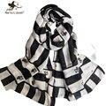 Черный и белый геометрический полосатые шарфы и обертывания для женщин дизайна бренда шарф и шали дамы негабаритных долго фуляр