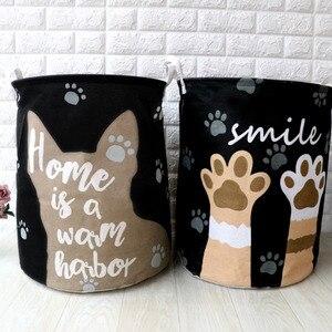 Image 3 - 귀여운 고양이 개 발 대형 접는 세탁 바구니 만화 고양이 보관 배럴 코튼 린넨 더러운 옷 햄퍼 장난감 보관 바구니