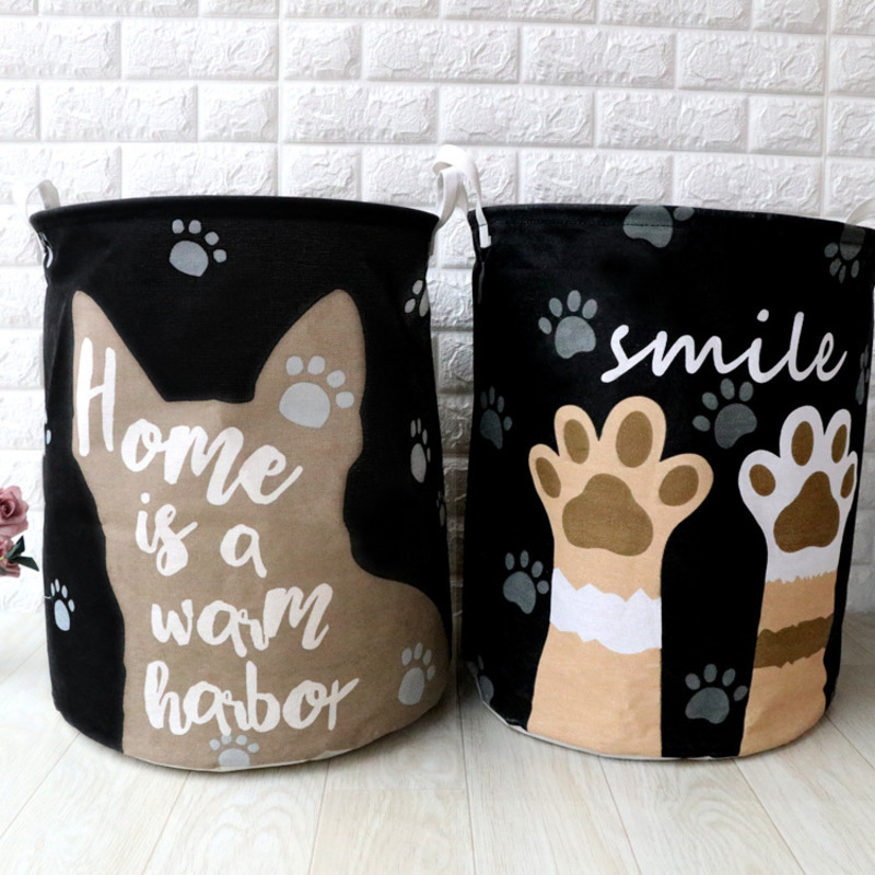 Image 3 - Cute Cat Dog Paw Large Folding Laundry Basket Cartoon Cat Storage Barrel Cotton Linen Dirty Clothes Hamper Toys Storage Basket-in Storage Baskets from Home & Garden