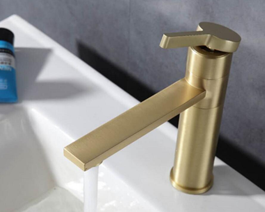 brass brushed golden Single Lever Kitchen Bathroom Sink Basin Faucet Mixer gold Tap BF058 G