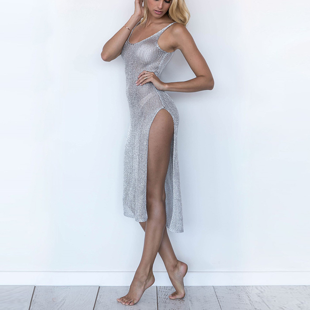 DSQUAENHD Womens Sexy Bodycon Gauze See-through Sheer Dress O-Neck Sleeveless Spaghetti Strp Dress Mesh Beach Night Club Dress