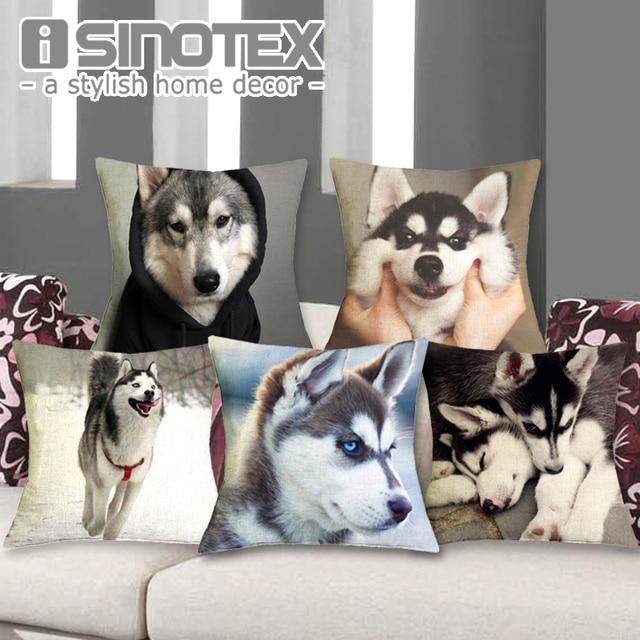 Cuscino Husky 43X43 cm Lino Decorativa Cuscini Cute Dog Stampato Federe Federa R