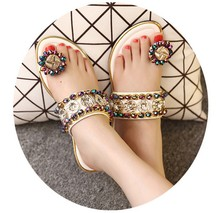 paillette 2016 Summer Flat Sandals Female Summer Women Ladies Sandals Slippers beads Flip-flop Shoes Comfort Rhinestone