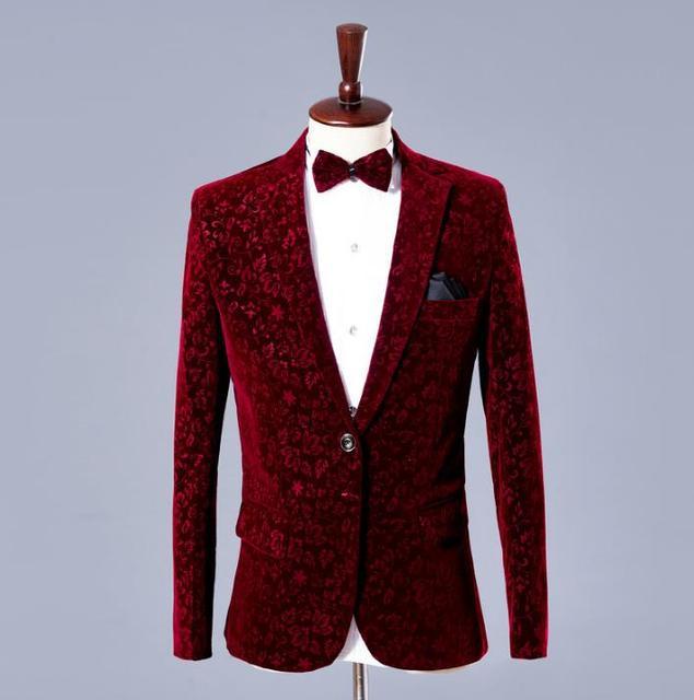 b5dba7aeff0bf Wine red velvet blazer mężczyźni formalne sukienka najnowsze płaszcz pant  projekty garnitur garnitury ślubne dla mężczyzn