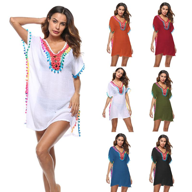 2018 Women Sexy Colored Tassel See-Through Crochet Tunic Beach Cover Up Swimwear Summer Bikini Cover Up Swim Beach Dress striped tunic dress beach cover up with sleeves