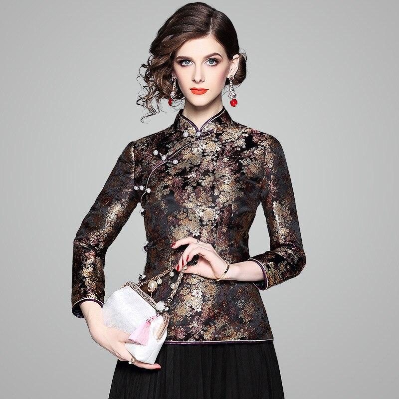 Femmes hauts et Blouse Style chinois rétro Jacquard 2018 automne femmes inclinées simple boutonnage col montant court Cheongsam XXL