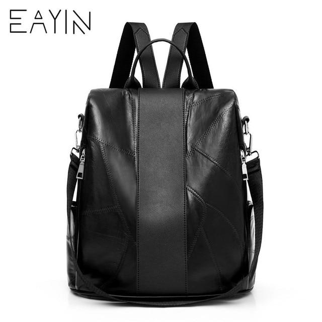 d9ba3dc8bda81 Bolso de hombro de cuero para mujer mochila de estilo coreano EAYIN bolso  de escuela negro