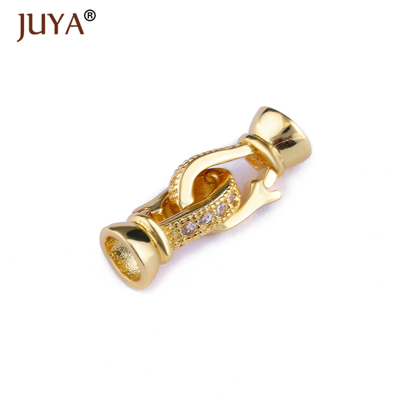 Jewellery Findings Components High Quality Copper Inlaid AAA Zircon Stone Fold Over Clasps For Jewelry Making Fastener Findings