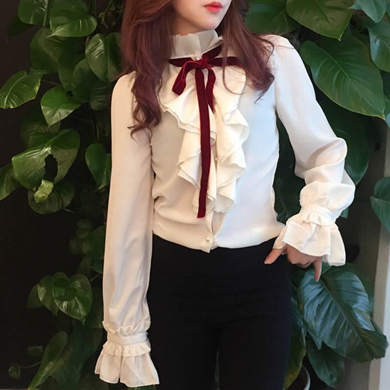 Ladies office shirts tops 2017 spring summer vintage long sleeve ruffle blouse chiffon shirts with long sleeve
