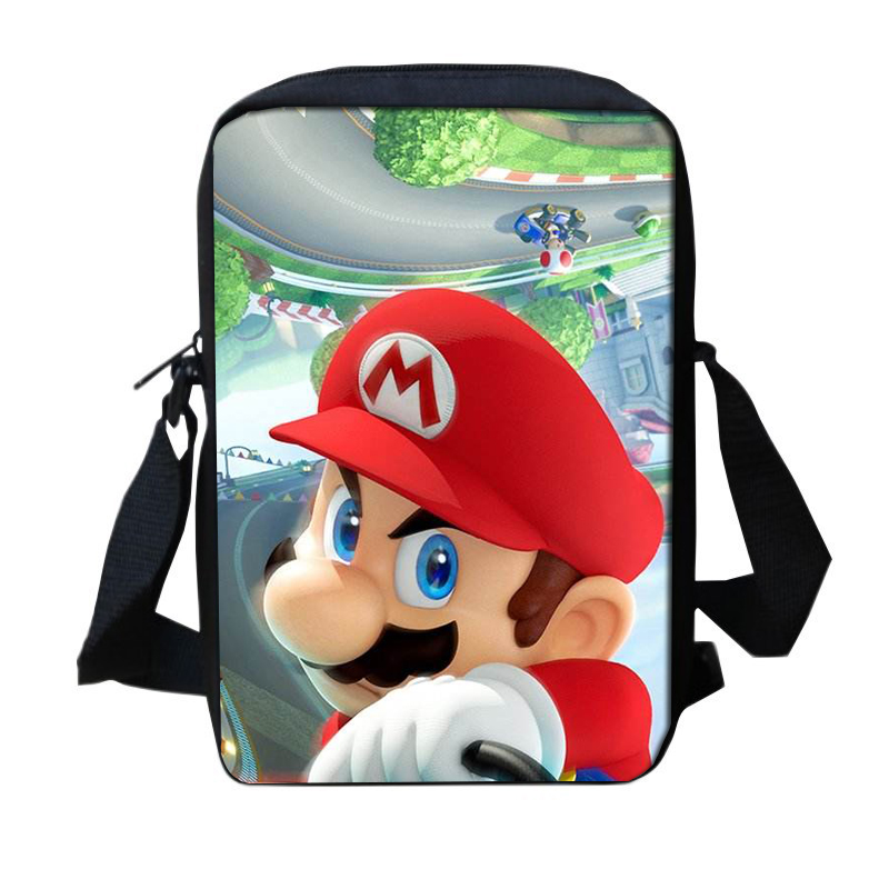 Fashion Mini Children School Trave Bag CartoonMario Kart 8 Printing Cross body Shoulder Bag for Kids Small Boys Girls Schoolbag