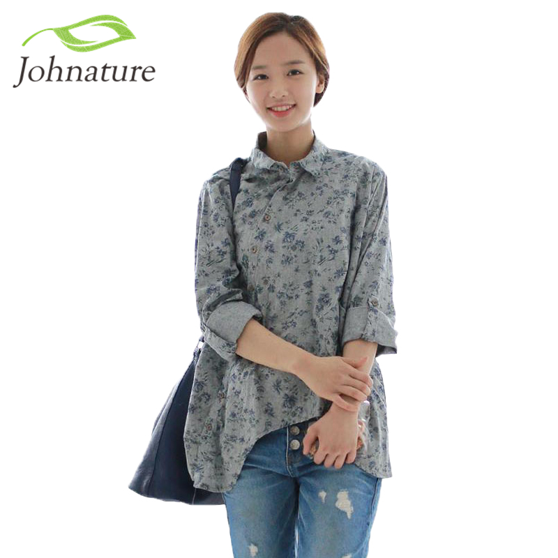 Johnature 2017 Spring New Women Shirt Cotton Linen Button White Blue Floral Turn-down Collar Irregular Plus Size Loose Blouse