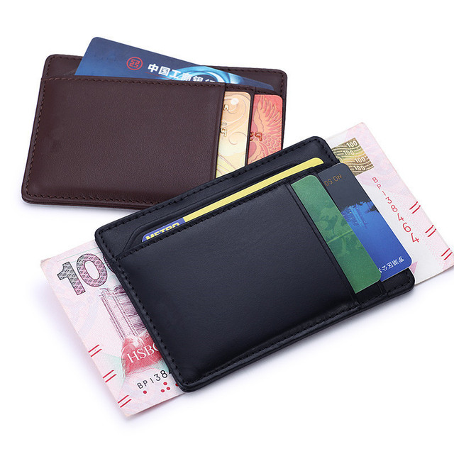 Business Casual Credit Card ID Holder Black/Brown Men Fashion Ultra-thin small leather wallet  Bank Card case with Momey clip