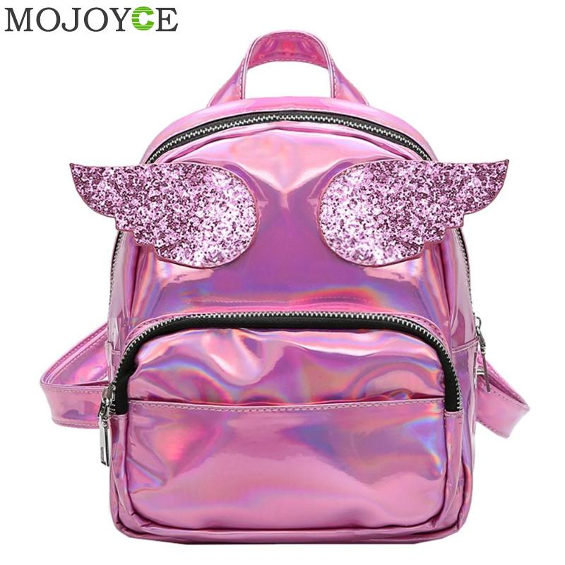 06d5c1e0cd9 PU Leather Backpack Women Bat Wings Shoulder Bag Teenage Girls Mini Black  Bag New Fashion Small ...