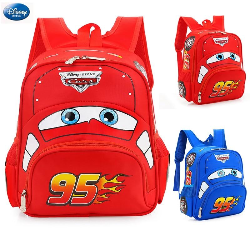 Disney Cartoon Car Children Backpack Kindergarten Girls Boys 95 Team Backpack Primary School Students 3-6 Years Old