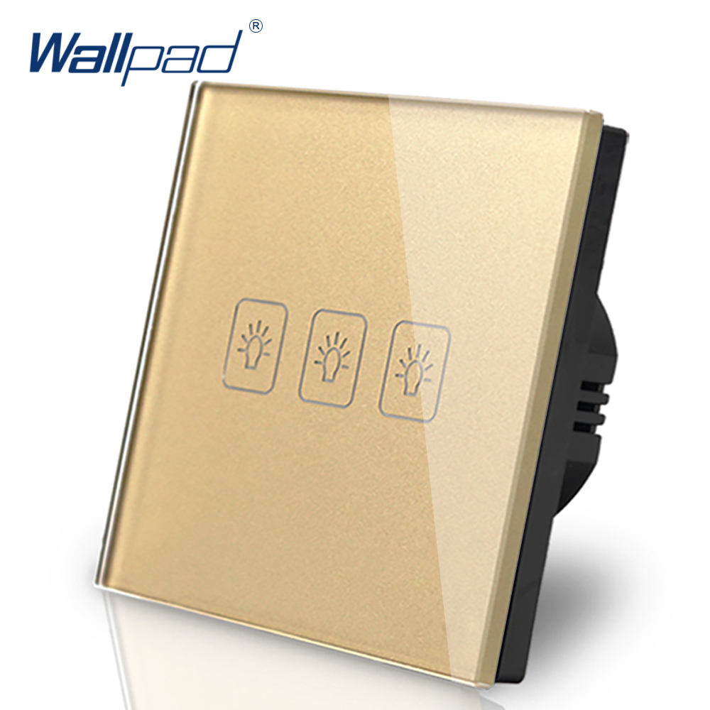 3 Gang 1 Way Switch Wallpad Luxury Gold Crystal Glass Wall Switch Touch Switch AC 110-250V European Standard 3 gang 1 way switch wallpad luxury white crystal glass wall switch touch switch ac 110 250v uk standard
