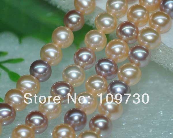 Bijoux 0081 exceptionnelle naturel Rare Multi AAA 6 - 7 mm ronde perles d'eau douce
