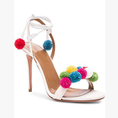 Big Size 10 Cheap Price Pompom Embellished Raffia Sandals High Heel Cut-outs Colorful Ankle-Tie Sandals Women Drop Ship bowknot embellished plus size drop shoulder sweater