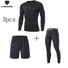 купить Men's Running Sets Sportswear Compression Leggings Pants Shirts with Shorts for Running Joggers Gym Fitness Ball games дешево