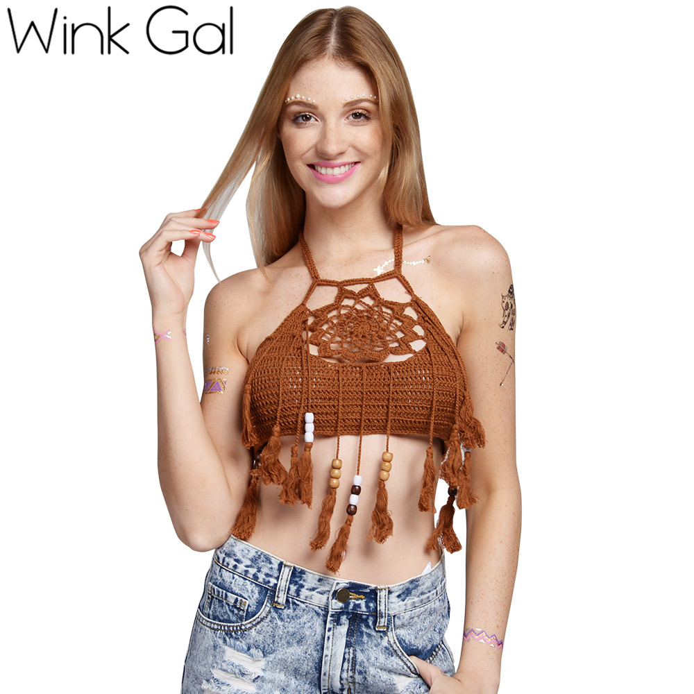 2e7d9d82bb0 Wink Gal Sexy Crop Top Beachwear Crochet Boho Bikini Bralette Halter Cami  Knitted Tank Tops W10176-in Camis from Women's Clothing & Accessories