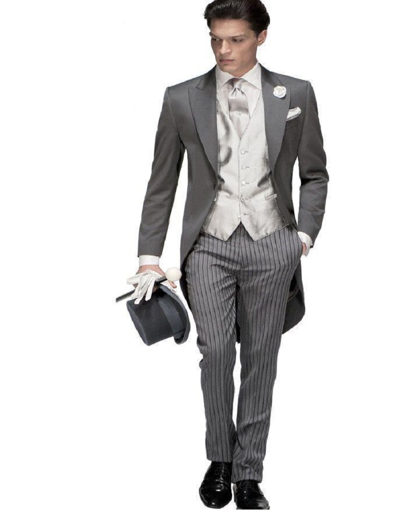 Traje de hombre de un botón de moda 2017 esmoquin gris para novio trajes de boda para hombre Prom novio (chaqueta + Pantalones + chaleco + corbata) - 2